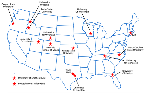 Map of universities participating in research collaborations with NuScale Power