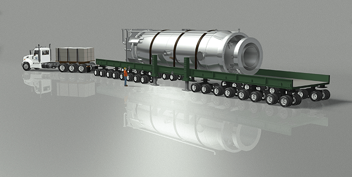 Illustration of the NuScale module being transported by truck