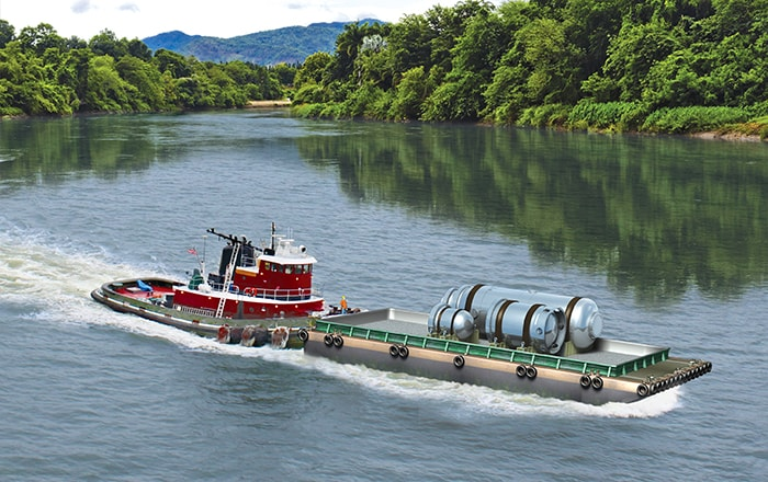 Illustration of the NuScale module being transported by barge